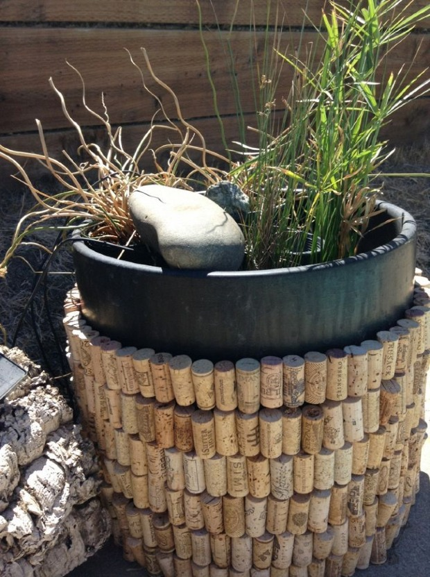 Wine cork diy decorating projects cover for pots