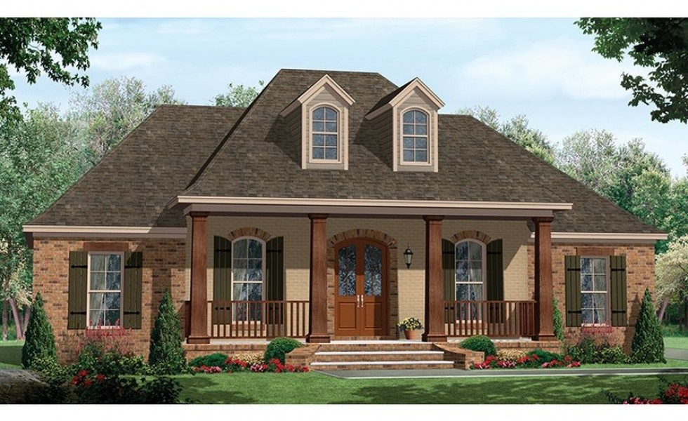 One story house plans with porch for Large one story house