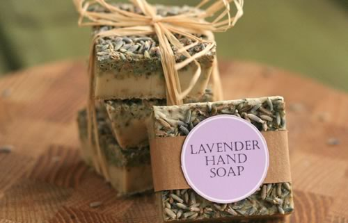 Homemade soap with lavender as a gift