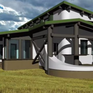 Straw bale house construction details in nature