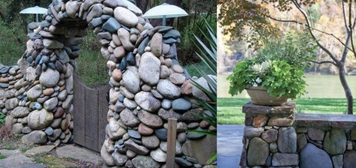 Building river stone walls with mortar in the garden