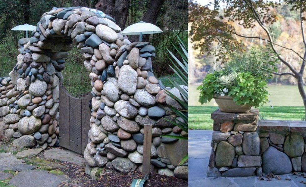 Building river stone walls with mortar sobriety and elegance for How to build a river rock patio