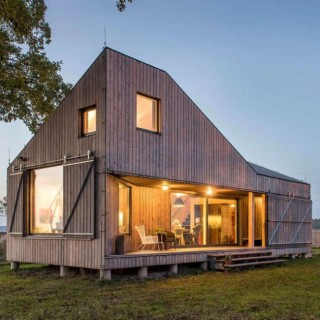 Modern houses archives houz buzz - The rolling shutter home in bohemia ...