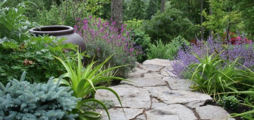 Using stone in rustic gardens is beautiful
