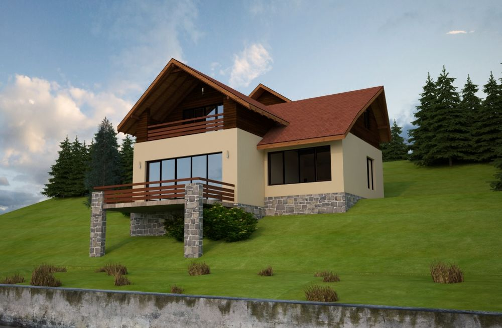 Small house plans for slopes for Home designs on sloped land