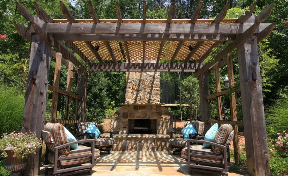 Wooden pergola design ideas - under garden\'s roof