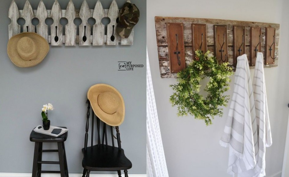 Rustic wood coat racks at home