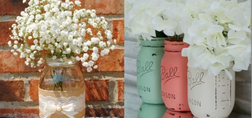 Mason jar flower vases at home