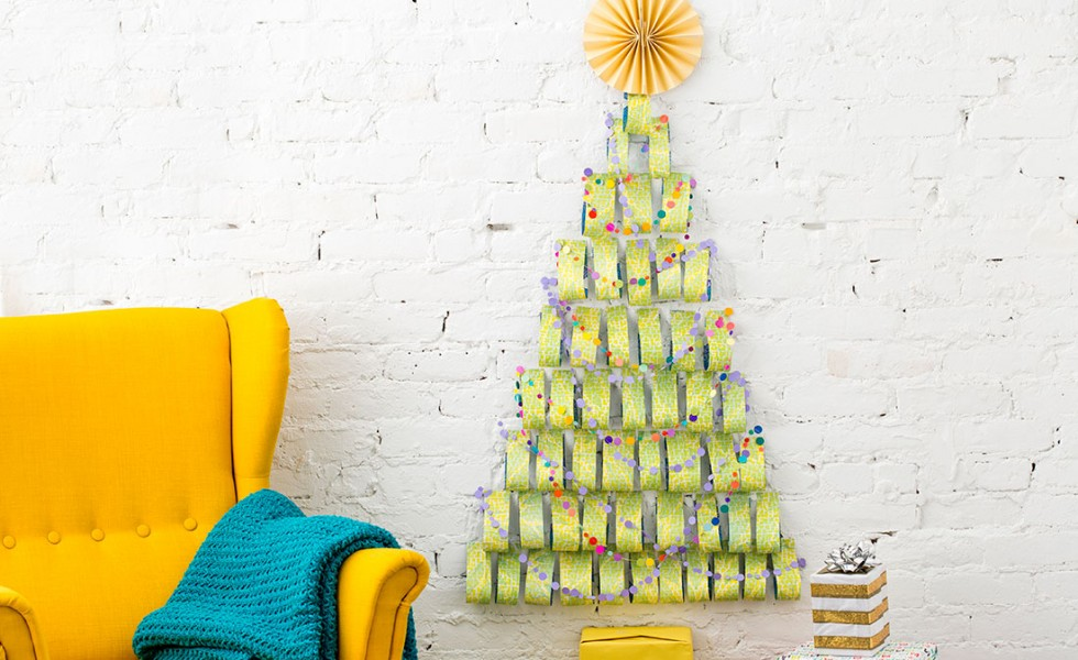 A paper Christmas tree at home