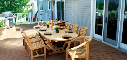 Outdoor wooden tables look great