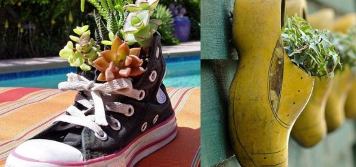Shoe planters for outside