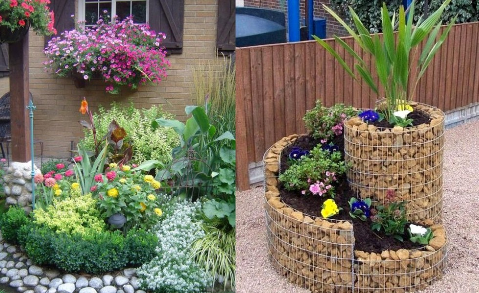 16 stone and flower garden design ideas houz buzz for Small garden bed design ideas