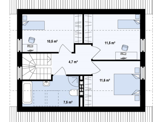simple mansard roof houses 1-plan-floor