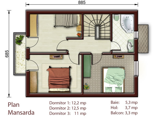 simple mansard roof houses 2-plan-floor