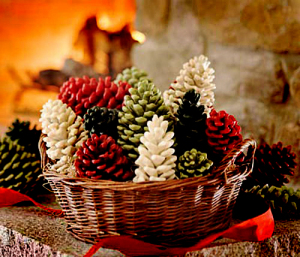 crafty winter decorations with pine cones paint 5