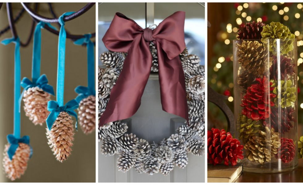 crafty winter decorations with pine cones