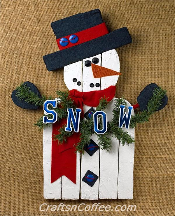 how to make a snowman out of wood planks