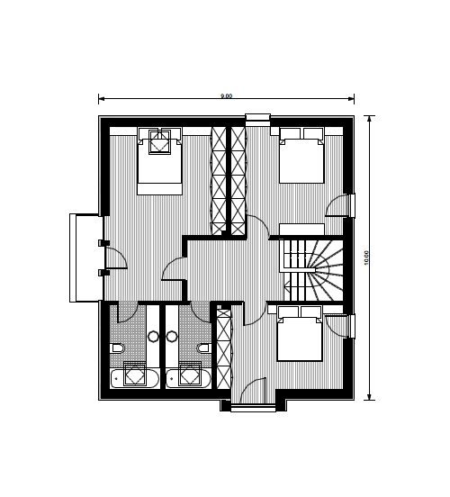small house plans with three bedrooms 1 2nd floor plan