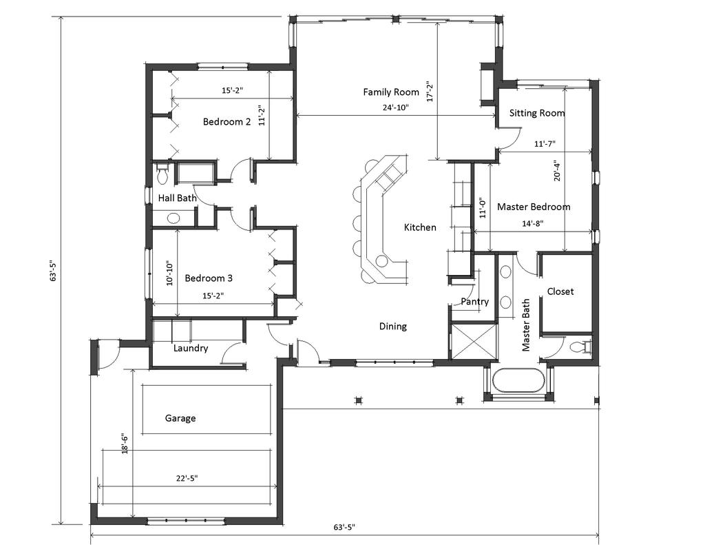 House plans with large living rooms medium size designed for Living room floor plans