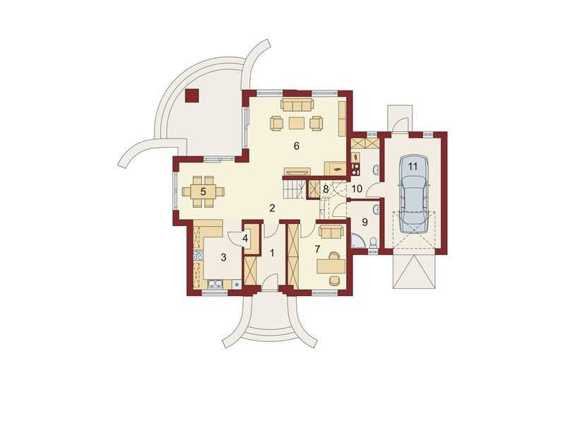 house plans with attic and 5 rooms