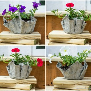 cloth and cement plant pots