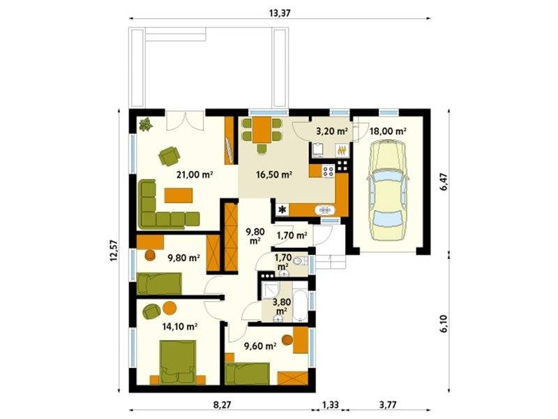 L-shaped one-story house plans