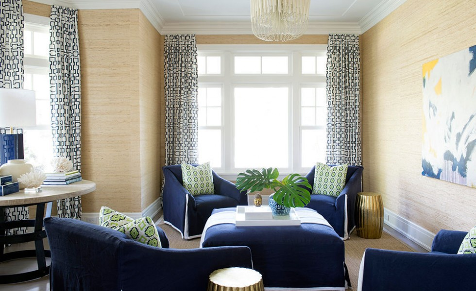 White and blue in interior design common pattern