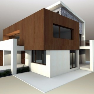Modern home plans with courtyard in the city
