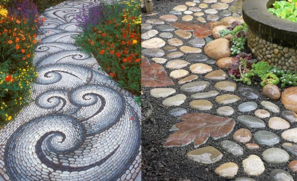 River stone walkway ideas in the garden
