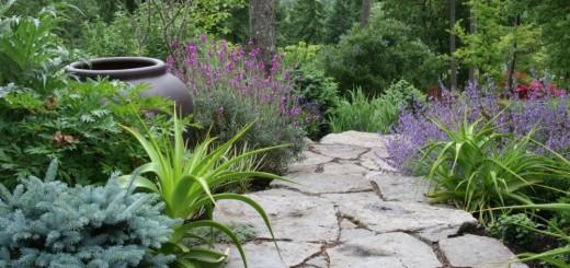Using stone in rustic gardens is beautiful