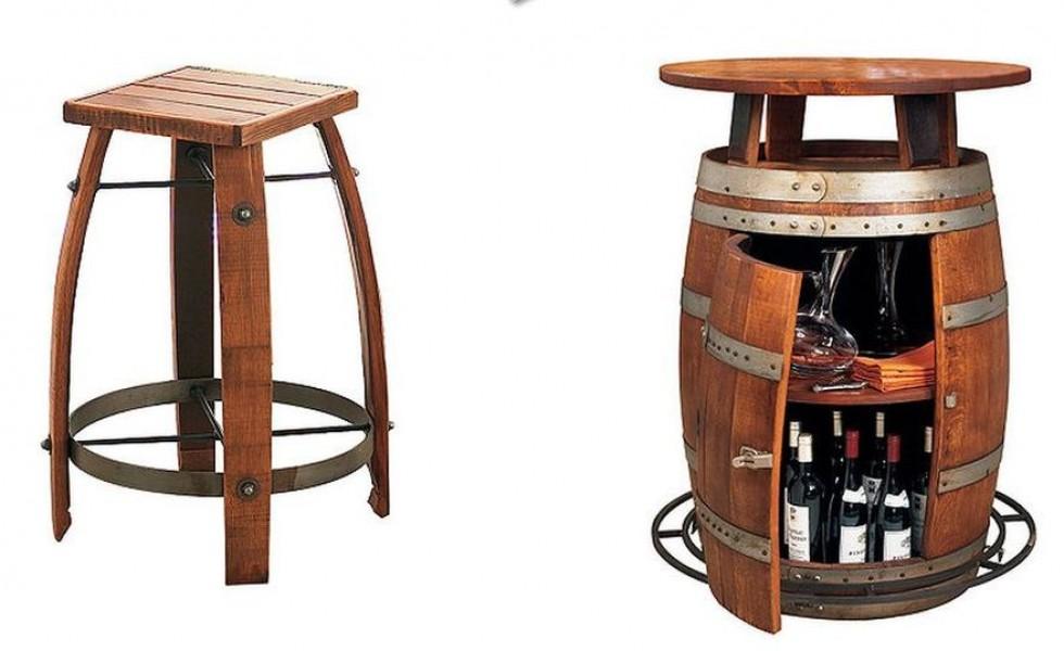 Vintage wooden barrel furniture for home