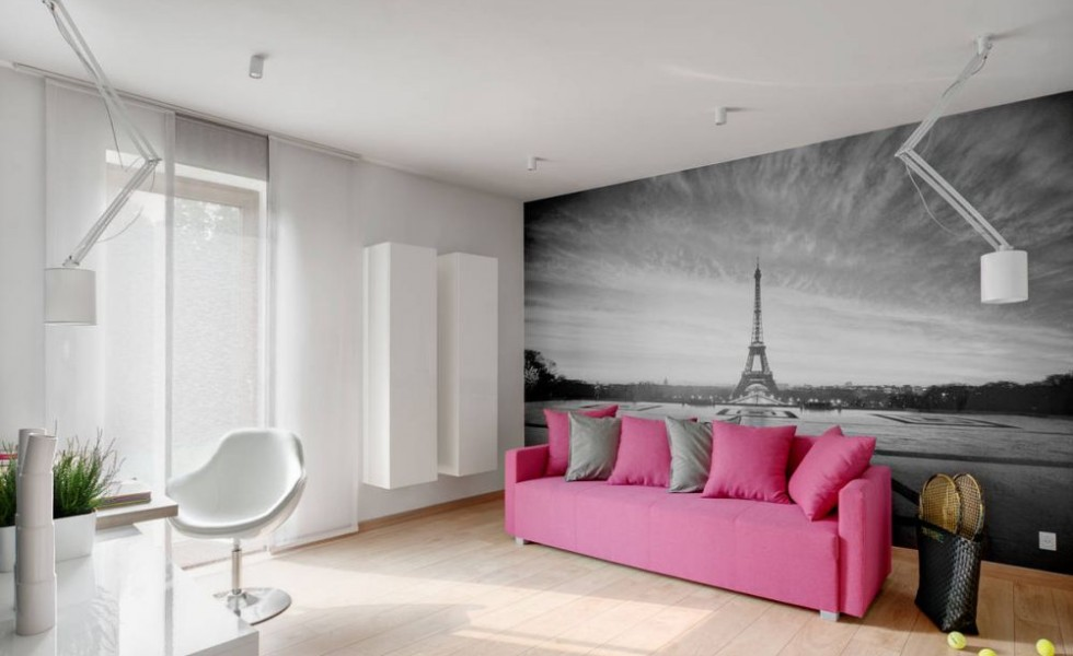 Pink and gray in the bedroom