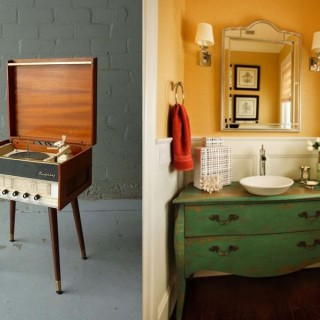 Vintage pieces of furniture at home