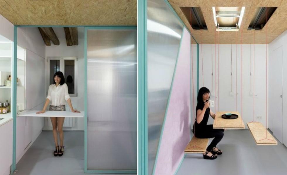 Ingenious storage solutions in a studio