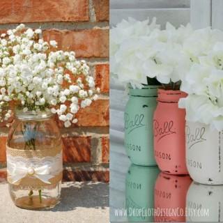 Mason jar flower vases at home
