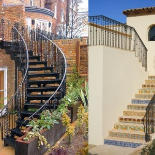 Exterior wrought iron stair railings at home