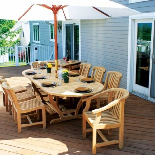 Outdoor wooden tables look great