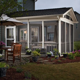 Screened in wood porches at home