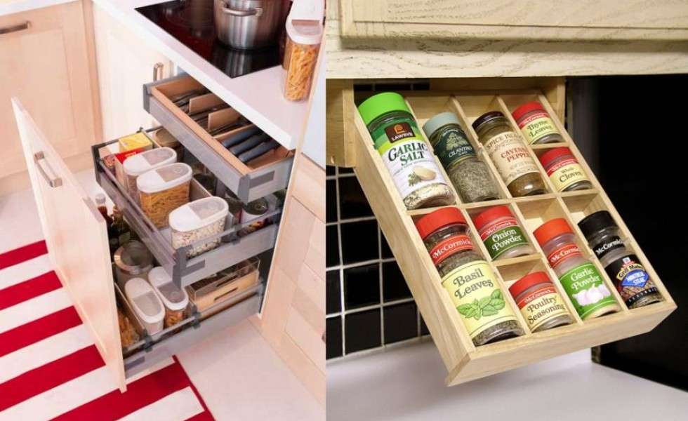 Practical kitchen drawers at home