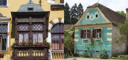Saxon style houses in Transylvania