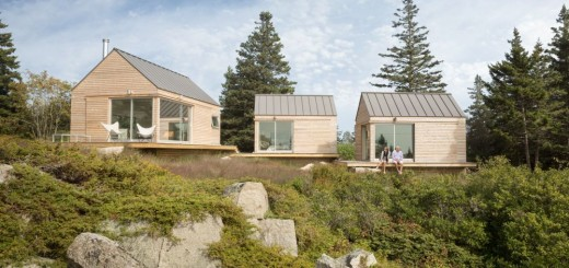 Modern architectural trio in the wild