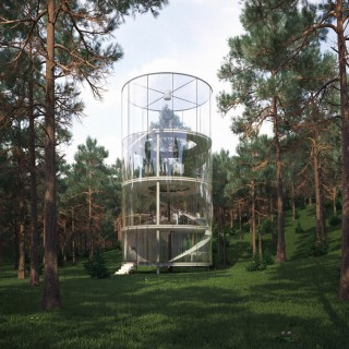 The tubular glass house in the tree