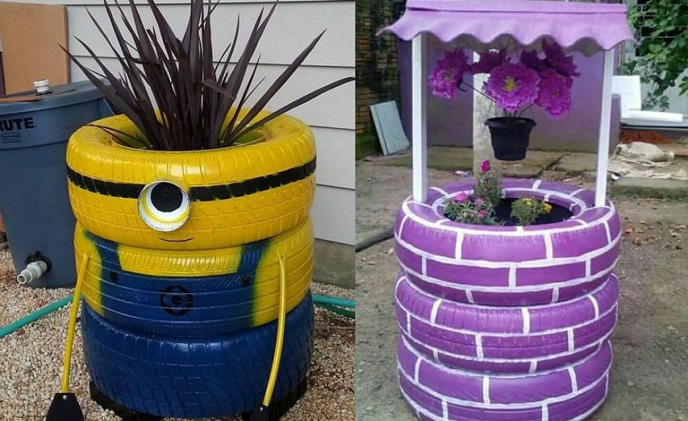 Old Tire Outdoor Ornaments - 17 Tasteful Recycling Ideas