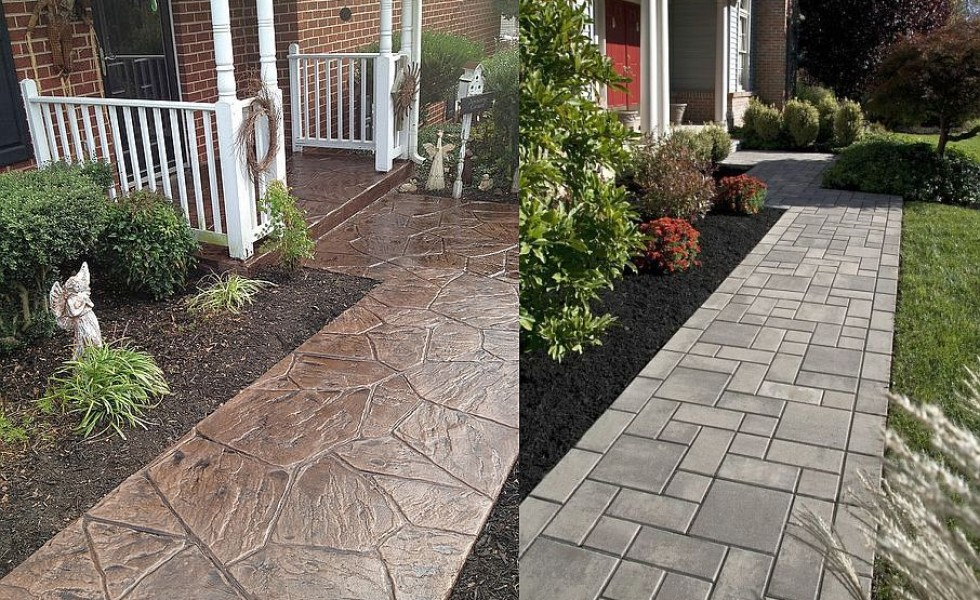 Stamped Concrete Walkway Ideas Aesthetic Addition To A
