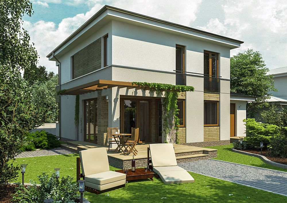 Small two story house plans open homes houz buzz for Case cu etaj