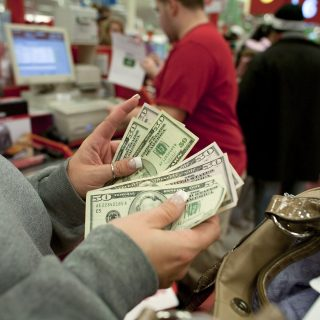 shopping with cash or card